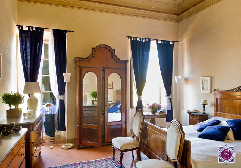 beautiful bedroom in italian villa